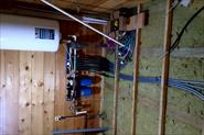 Дом профилированный брус из кедра, коммуникации, контрутепление, укладка фанеры